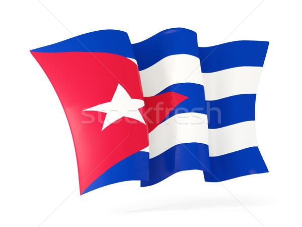 Integet zászló Kuba 3d illusztráció izolált fehér Stock fotó © MikhailMishchenko