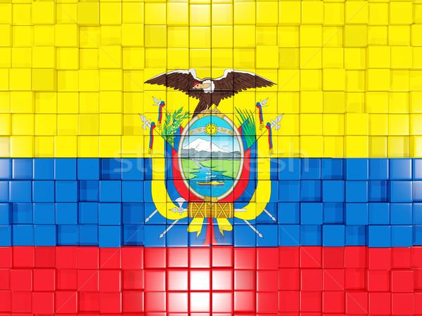 квадратный флаг Эквадор 3d иллюстрации мозаика Сток-фото © MikhailMishchenko