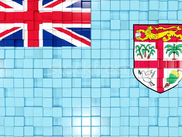 Vierkante onderdelen vlag Fiji 3d illustration mozaiek Stockfoto © MikhailMishchenko