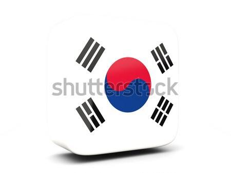 Square icon with flag of korea south square. 3D illustration Stock photo © MikhailMishchenko