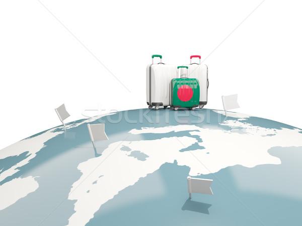 Bagagem bandeira três sacos topo globo Foto stock © MikhailMishchenko