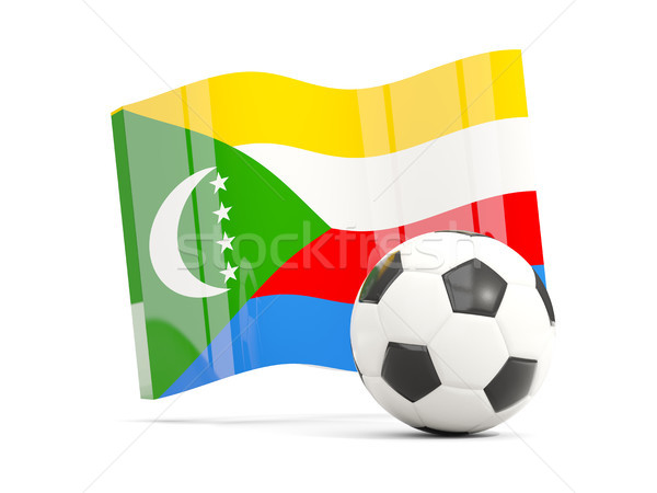 Football with waving flag of comoros isolated on white Stock photo © MikhailMishchenko