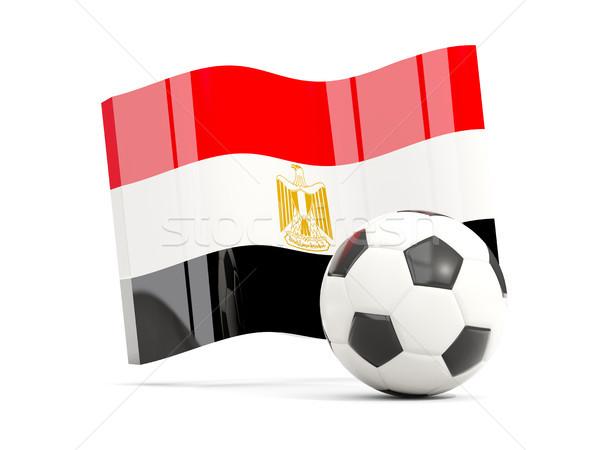 Football with waving flag of egypt isolated on white Stock photo © MikhailMishchenko