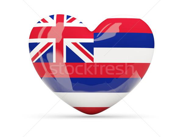 Banderą serca ikona odizolowany biały 3d ilustracji Zdjęcia stock © MikhailMishchenko