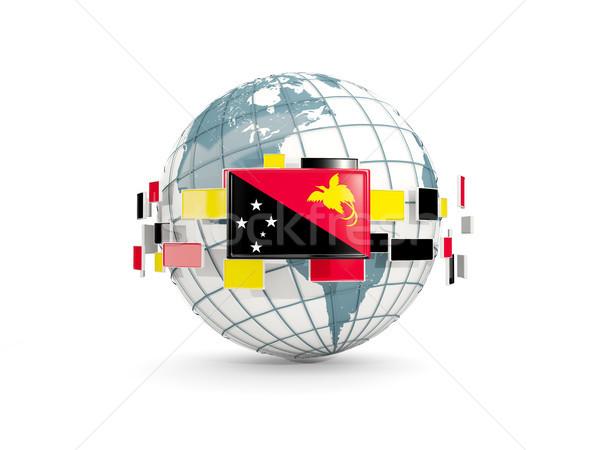 Földgömb zászló új izolált fehér 3d illusztráció Stock fotó © MikhailMishchenko