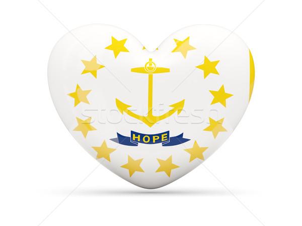 Bayrak ada kalp ikon yalıtılmış beyaz Stok fotoğraf © MikhailMishchenko