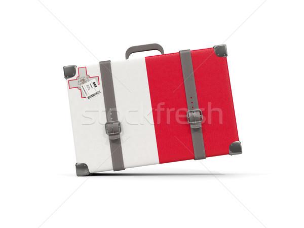 Bagage vlag Malta koffer geïsoleerd witte Stockfoto © MikhailMishchenko