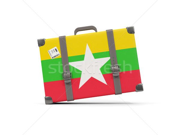 Bagagem bandeira Mianmar mala isolado branco Foto stock © MikhailMishchenko