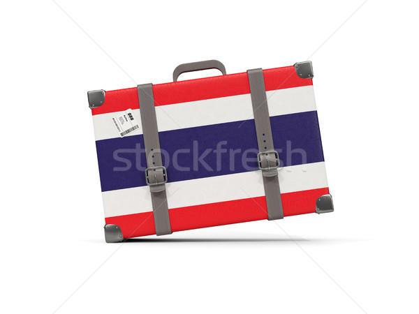 Equipaje bandera Tailandia maleta aislado blanco Foto stock © MikhailMishchenko