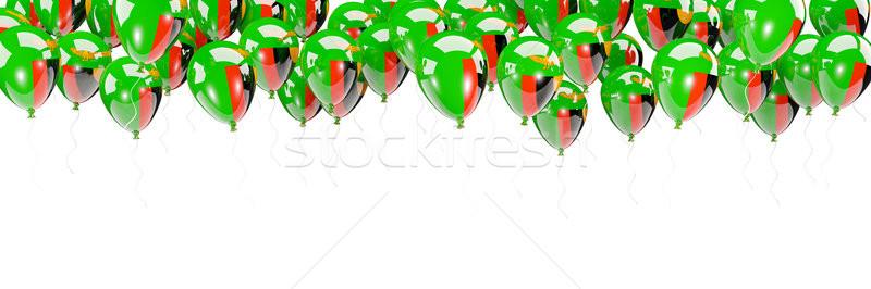 Balonlar çerçeve bayrak Zambiya yalıtılmış beyaz Stok fotoğraf © MikhailMishchenko