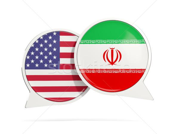 Chat buborékok USA Irán izolált fehér Stock fotó © MikhailMishchenko
