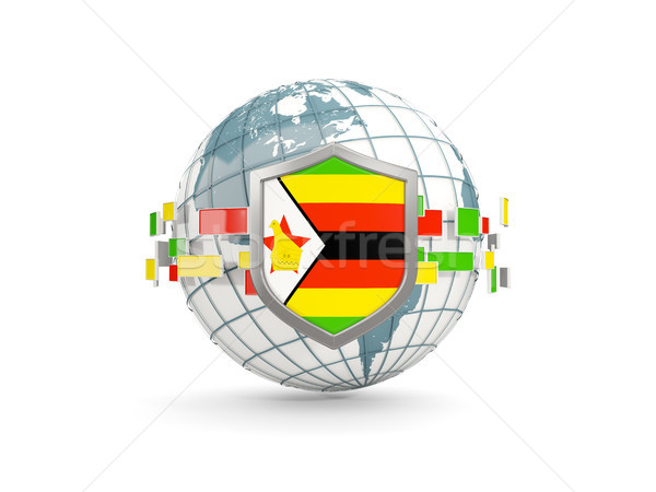 Globe and shield with flag of zimbabwe isolated on white Stock photo © MikhailMishchenko