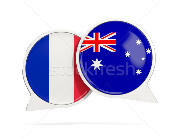Chat bubbles of France and Australia isolated on white Stock photo © MikhailMishchenko