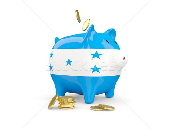 Gordura piggy bank Honduras dinheiro isolado branco Foto stock © MikhailMishchenko