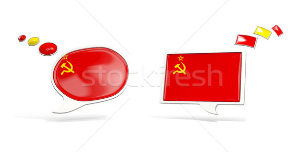 Two chat icons with flag of ussr Stock photo © MikhailMishchenko