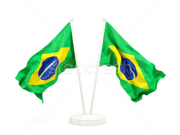 Kettő integet zászlók Brazília izolált fehér Stock fotó © MikhailMishchenko