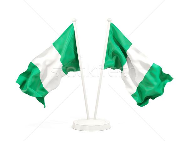 Iki bayraklar Nijerya yalıtılmış beyaz Stok fotoğraf © MikhailMishchenko
