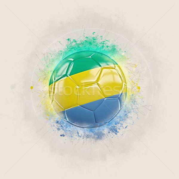 Гранж футбола флаг Габон 3d иллюстрации Мир Сток-фото © MikhailMishchenko