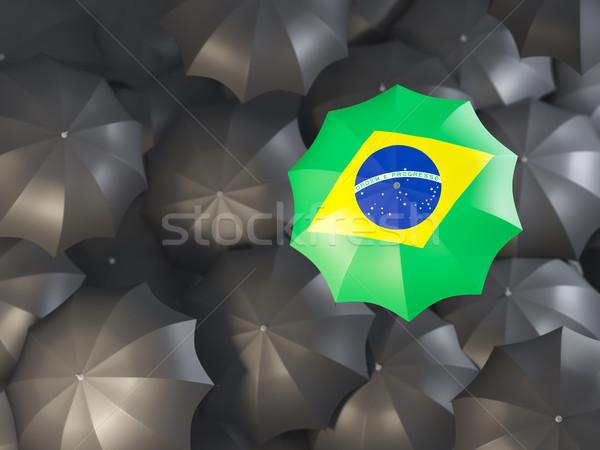 Paraguas bandera Brasil superior negro paraguas Foto stock © MikhailMishchenko