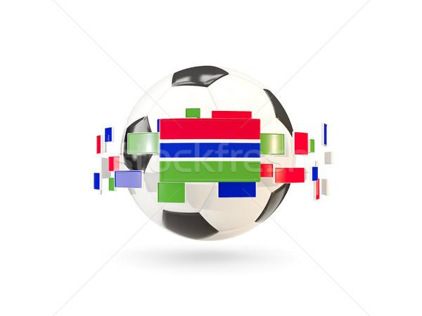 サッカーボール 行 フラグ フラグ ガンビア ストックフォト © MikhailMishchenko