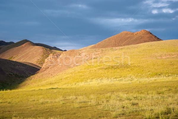 Hills in Gobi desert at sunse Stock photo © MikhailMishchenko