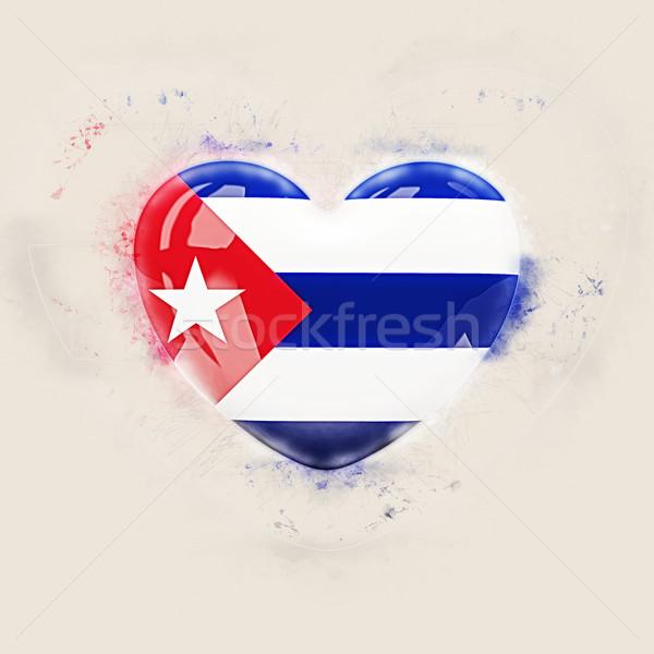 сердце флаг Куба Гранж 3d иллюстрации любви Сток-фото © MikhailMishchenko
