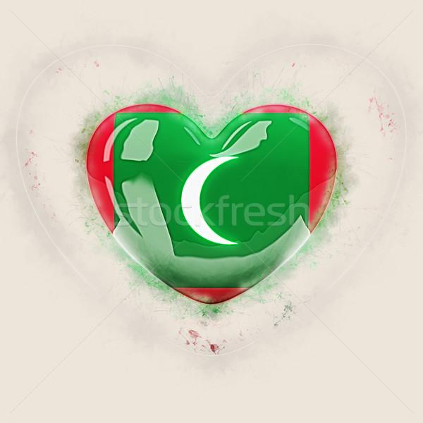 сердце флаг Мальдивы Гранж 3d иллюстрации путешествия Сток-фото © MikhailMishchenko