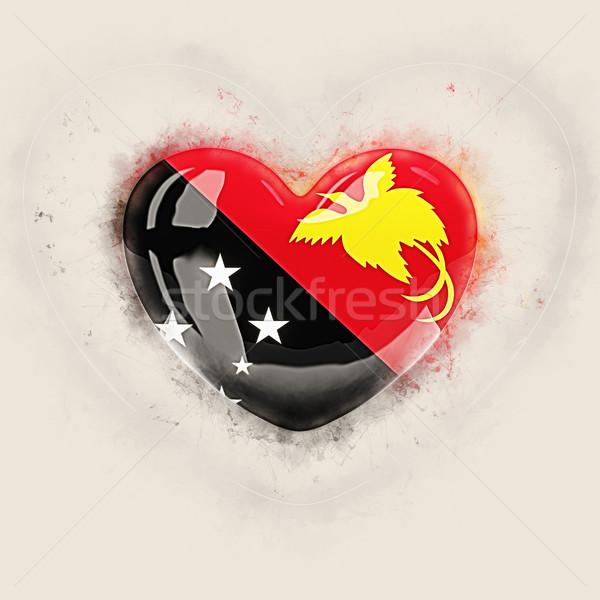 Szív zászló Pápua Új-Guinea grunge 3d illusztráció utazás Stock fotó © MikhailMishchenko