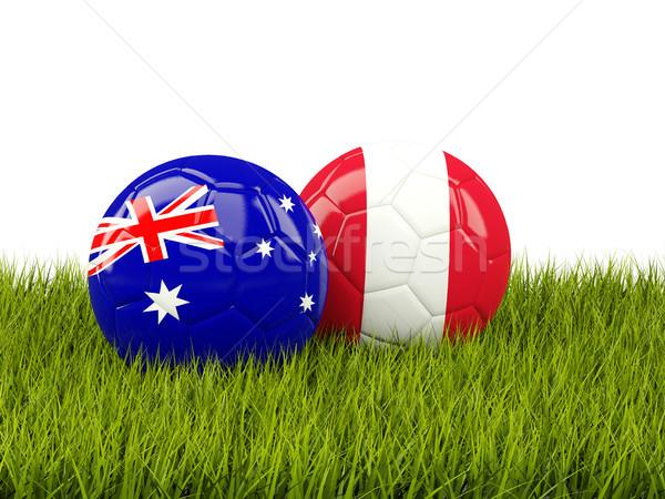 Ausztrália vs Peru futball zászlók zöld Stock fotó © MikhailMishchenko