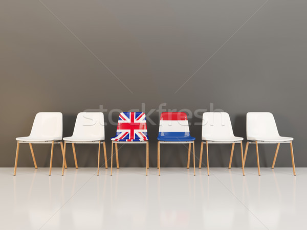 Chairs with flag of United Kingdom and netherlands Stock photo © MikhailMishchenko