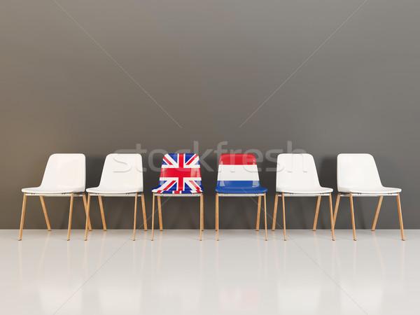 Chairs with flag of United Kingdom and netherlands Stock photo © MikhailMishchenko
