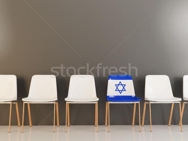 Sandalye bayrak İsrail beyaz sandalye Stok fotoğraf © MikhailMishchenko