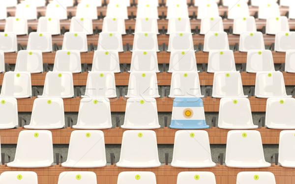 Stadion zitting vlag Argentinië rij witte Stockfoto © MikhailMishchenko