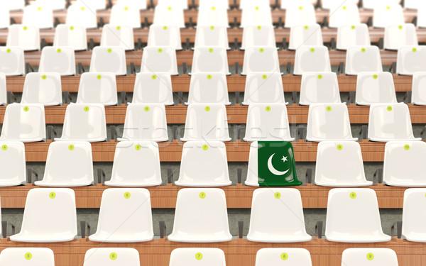 Stadion ülés zászló Pakisztán csetepaté fehér Stock fotó © MikhailMishchenko