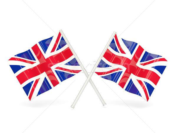 Bandera Reino Unido dos ondulado banderas aislado Foto stock © MikhailMishchenko
