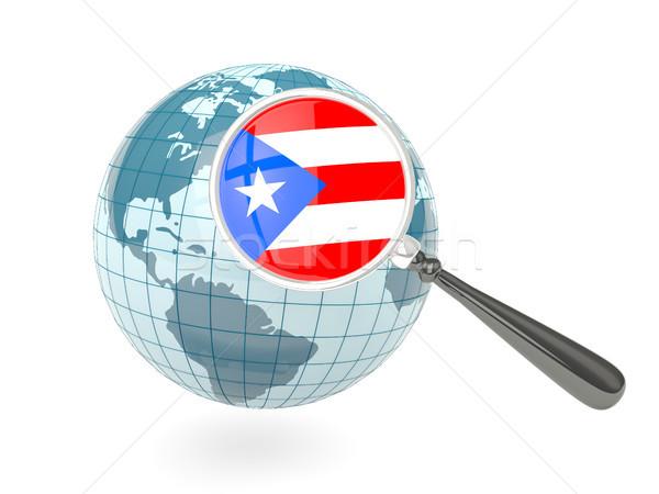 Vlag Puerto Rico Blauw wereldbol geïsoleerd Stockfoto © MikhailMishchenko