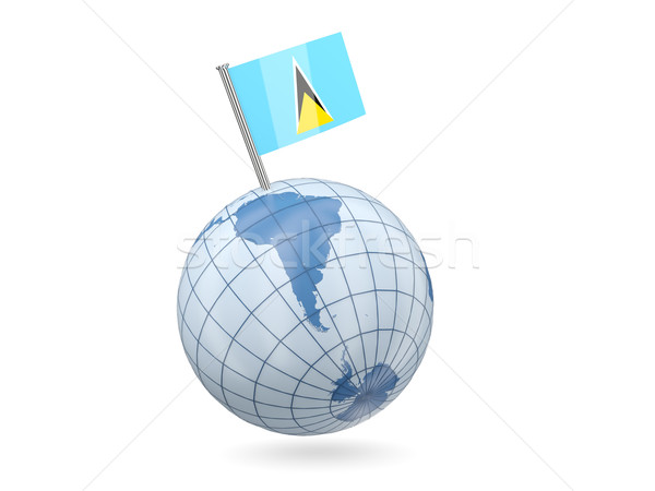 Globe with flag of saint lucia Stock photo © MikhailMishchenko