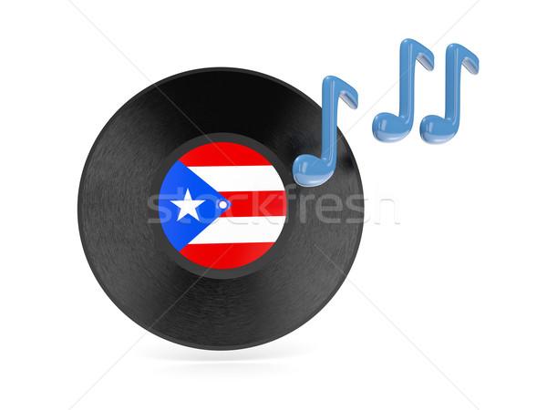 Vinyl schijf vlag Puerto Rico geïsoleerd witte Stockfoto © MikhailMishchenko
