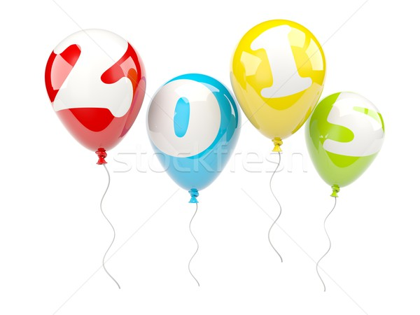 Colored air balloons with 2015 New Year sign Stock photo © MikhailMishchenko