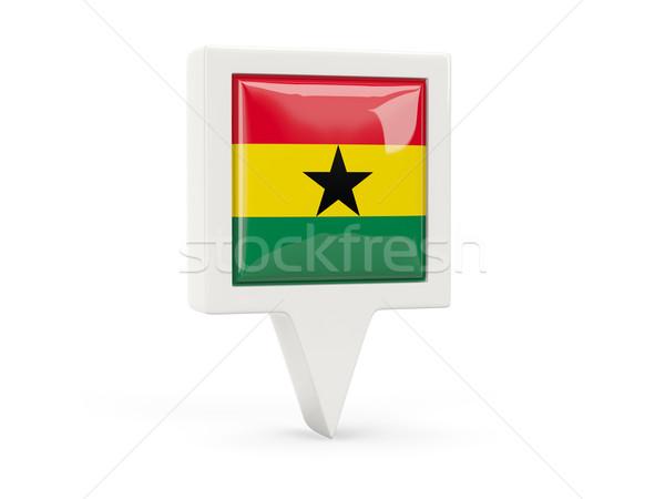 квадратный флаг икона Гана изолированный белый Сток-фото © MikhailMishchenko