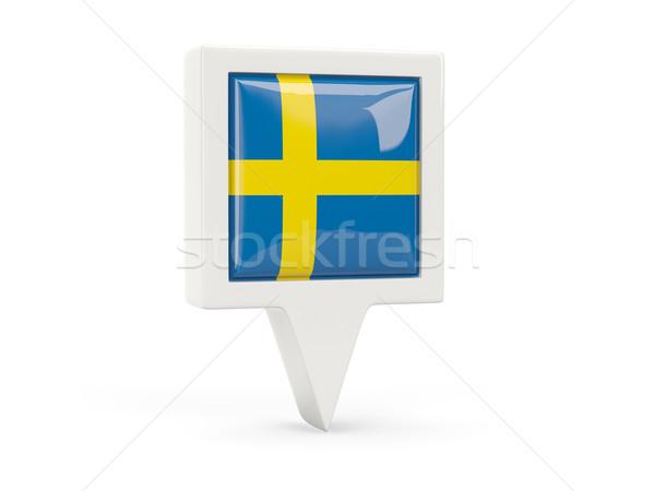 Vierkante vlag icon Zweden geïsoleerd witte Stockfoto © MikhailMishchenko