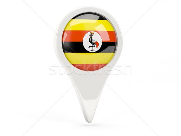 Zászló ikon Uganda izolált fehér térkép Stock fotó © MikhailMishchenko