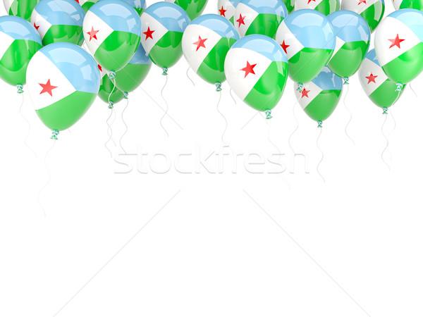 Balon ramki banderą Dżibuti odizolowany biały Zdjęcia stock © MikhailMishchenko