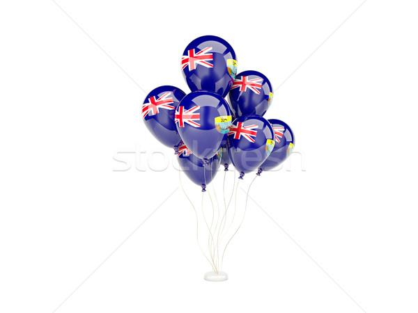 Stockfoto: Vliegen · ballonnen · vlag · geïsoleerd · witte