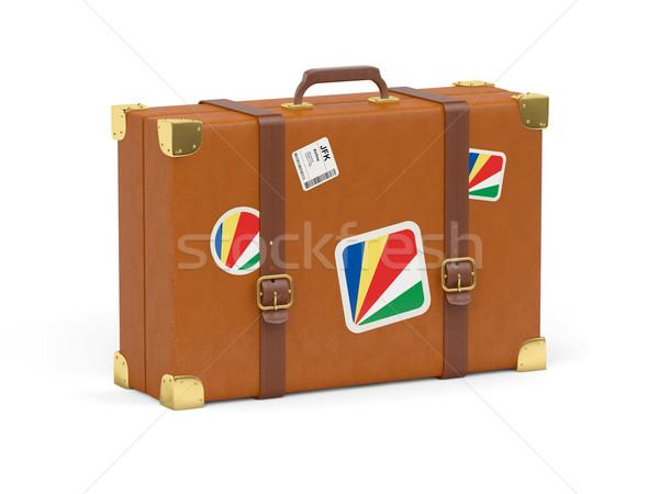 Bőrönd zászló Seychelle-szigetek utazás izolált fehér Stock fotó © MikhailMishchenko