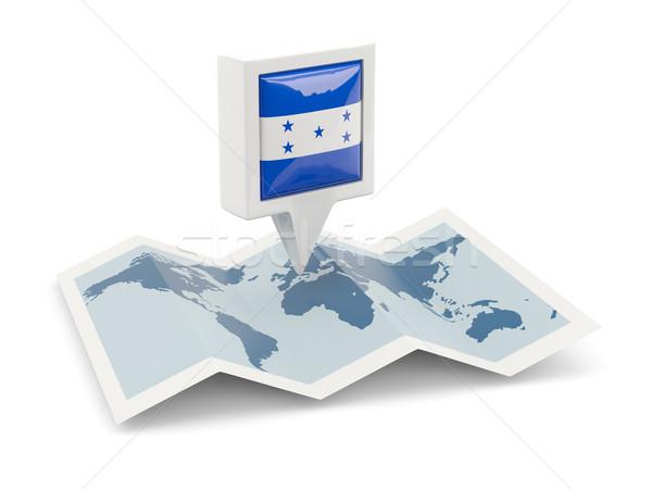 Piazza pin bandiera Honduras mappa viaggio Foto d'archivio © MikhailMishchenko
