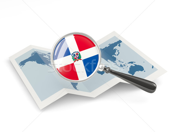 Magnified flag of dominican republic with map Stock photo © MikhailMishchenko