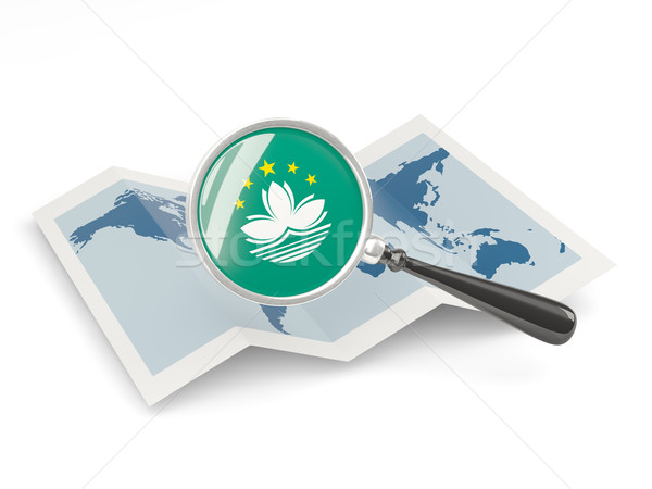 Magnified flag of macao with map Stock photo © MikhailMishchenko
