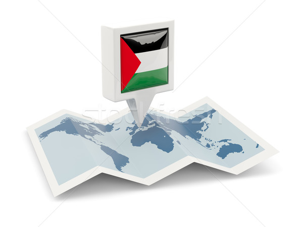 Square pin with flag of palestinian territory on the map Stock photo © MikhailMishchenko