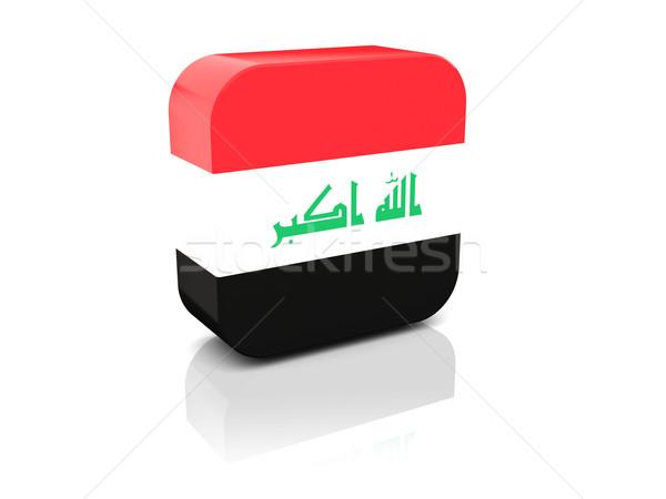 Kare ikon bayrak Irak yansıma beyaz Stok fotoğraf © MikhailMishchenko